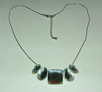 BEAUTIFUL ART DECO STYLE SILVER PLATED CLEAR FACETED glass CRYSTAL NECKLACE
