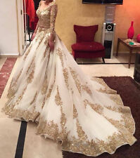 New White Gold Embroidery Beading Long Sleeve Pageant Bridal Gown Wedding Dress