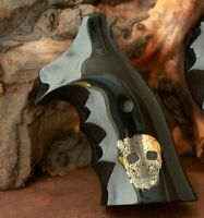 Smith & Wesson k&L Frame grips made from Black PMMA Acrylic and Brass Logo