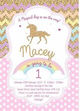 12 Personalised Unicorn Birthday Party invites