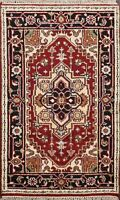 Geometric Hand-Knotted Heriz Serapi Oriental Area Rug RUST/ NAVY Carpet 3x4 ft