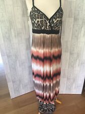 Quiz Maxi Dress Animal Print & Multi Coloured Skirt Sz16/44