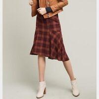 ANTHRO Maeve Red Plaid Flounce Hem Skirt Size 0