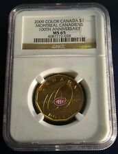 2009 Montreal Canadiens EXTREMELY RARE Coloured Dollar Coin NGC Certified MS-65
