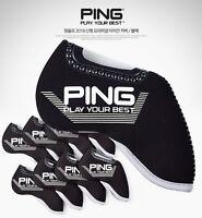 [PING] 2018 New Premium Golf Iron Club Head Cover (9pcs) Set Navy Gray Neoprene