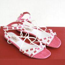 VALENTINO GARAVANI pink suede white rockstud shoes studded strap sandal 35.5 NEW