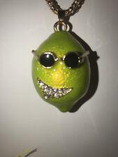Betsey Johnson Necklace LEMON LIME Smiling  Sunglasses Crystal Margaritas