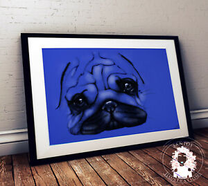 Pug Poster / Room Decor / A3 Print / Art / Blue