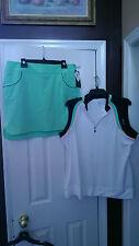 NWT EP PRO SPORT Atlantic Green Golf Outfit Skort Sleeveless Top size XL 12 14
