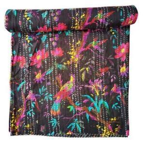 Bird Print Cotton Kantha Quilt Throw Blanket Bedspread Handmade Work Indian