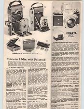 1955 PAPER AD Polariod Speedliner Highlander Folding Exakta Reflex Camera