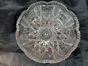 """American Brilliant Period Cut Crystal Antique Bowl, Sawtooth 8"""" - 7"""