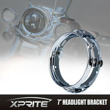 Xprite Silver LED Headlight Bracket Mount Ring For Harley Davidson 7""