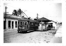 Original 1940's Mexico City 6x4 Photograph Streetcar Tram Trolley Coca Cola Ad