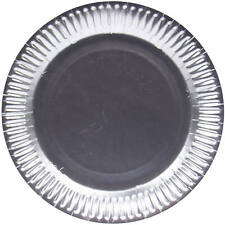 8 X MATT SILVER 23CM CARDBOARD PARTY PLATES ANNIVERSARY BIRTHDAY PARTY