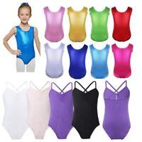 Girls Kids Shiny Ballet Dance Gymnastics Leotard Sleeveless Jumpsuit Dancewear