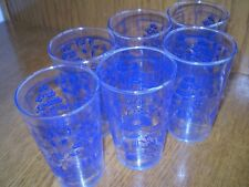 """SIX (6) 4.75"""" TALL/12-OUNCE BLUE WILLOW GLASSES"""