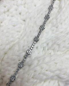 Beautiful Handmade Transparent CZ With 925 Silver Flower Tennis Style Bracelet