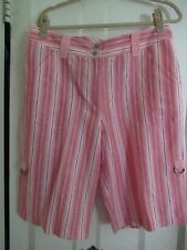 NWT Chico's Bella Striped Zimmie Linen/ Cotton Short- Peach, Rust, White- 2.5