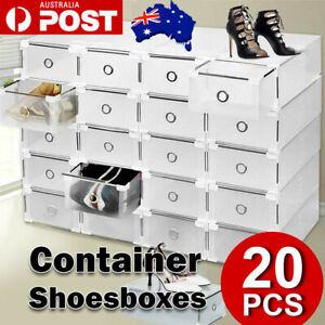 20pcs Stackable Foldable Clear Shoe Storage Cases Drawer Boxes Wardrobe