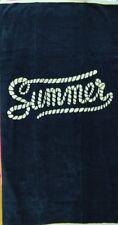 SUMMER WHITE NAVY LUXURY JUMBO BEACH TOWEL 100% EGYPTIAN COTTON 90cm x 170cm