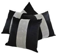 Set of 4 Black & Silver Diamanté Sparkle Velvet Chenille 17 inch Cushion Covers