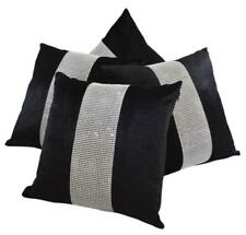 Set of 4 Black & Silver Diamanté Sparkle Velvet Chenille 17 inch Cushion Covers