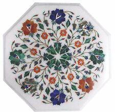 "12"" Pietra dura Marble Corner Table Top Inlay Handmade Work Home & Garden"