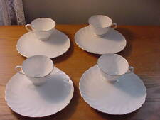 """4 Sets of Vintage Tuscan Fine Bone China """"Dover"""" Snack Sets, Trays and Cups, Ex"""