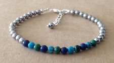 Plated, Friendship Bracelet Lapis+Turquoise+Malachite +Silver Hematite, Silver