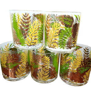 RARE Set 5 Georges Briard signed Gold Green Glasses ferns leaves lowball MCM
