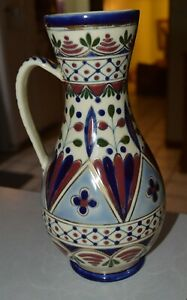 Lovely Zsolney Pecs, Hungary Antique 19th century Pitcher with handle