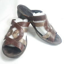 "SZ 39 brown and gold leather 2"" heel women's slip on sandals by Josef Seibel"