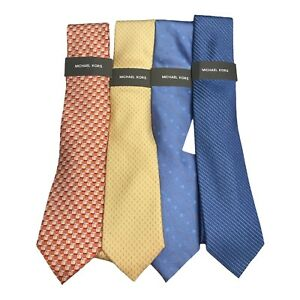 Michael Kors Mens Lot of 4 Necktie Multi Combo Silk and Silk Blend Classic New