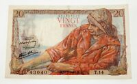 1942 France 20 Francs VF+ Condition Pick #100a