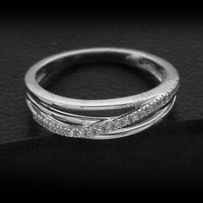 0.25 ct Round Cut Diamond 14k White Gold Finish Cross Wedding Band Ring Size 6.5