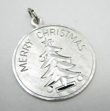 "Vintage Sterling Silver ""Merry Christmas"" Ornament Tree 1"" Bracelet Charm"
