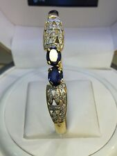 Pave 3.95 Cts Natural Diamonds Sapphire Cuff Bracelet In Solid Hallmark 14K Gold