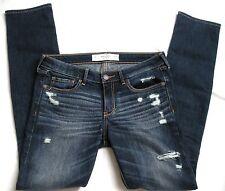Abercrombie & Fitch skinny Hüft Jeans Hose S M 36 38 W28 destroyed Löcher d´blau