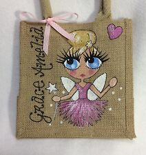 Personalised Hand painted Jute Fairy Tinkerbell Pixie Girl Mini Gift Bag
