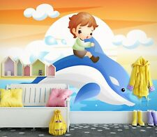 3D Dolphin Boy Zhua8034 Wallpaper Wall Murals Removable Self-adhesive Amy