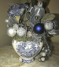"Blue Willow Christmas Floral Table Vase Blue Silver 7"" x 5"" Handcrafted Vintage"