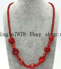 """Beautiful 2x4mm Rondelle Beads 13-17mm Irregular Red Coral Necklace 20"""" AAA"""
