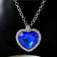 Women Crystal Eternal Love Heart Of The Ocean Necklace Charm Pendant Jewelry