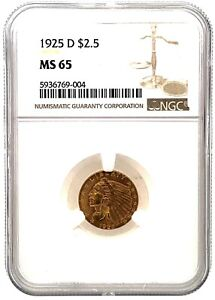 NGC MS 65 1925-D $2.50 Dollar United States Indian Head Quarter Eagle Gold Coin