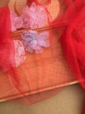 "Lace Fabric Red Dot Soft Wedding Fabric Lace Handmade DIY 59"" width 1 yard"
