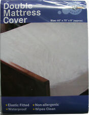 MATTRESS PROTECTOR COVER DOUBLE BED SIZE WATERPROOF VINYL + ELASTICATED CORNERS