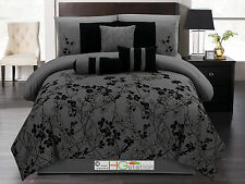 7-P Autumn Vine Twig Floral Bloom Silhouette Comforter Set Dark Gray Black Queen