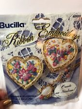 BUCILLA RIBBON EMBROIDERY SUMMER BLOSSOMS SET OF TWO HEART PINS KIT