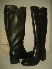 $895 NEW Salvatore Ferragamo US 11 Dark Brown Leather Knee-High Ridding Boots